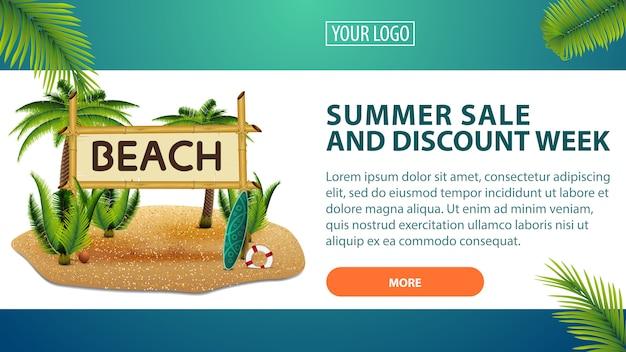 Venda de verão e semana de desconto, banner horizontal de desconto para o seu site