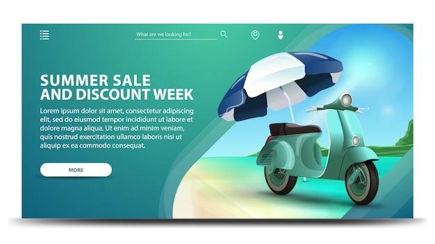 Venda de verão e semana de desconto, banner moderno web verde para seu site