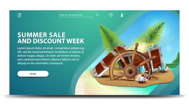 Venda de verão e semana de desconto, banner web horizontal criativo com belas paisagens