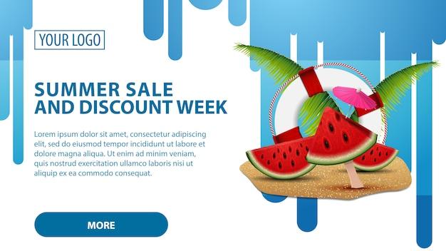 Venda de verão e semana de desconto, banner web horizontal
