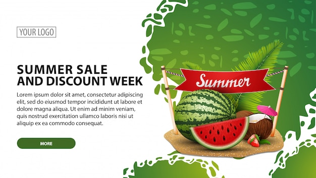 Venda de verão e semana de desconto, banner web moderna