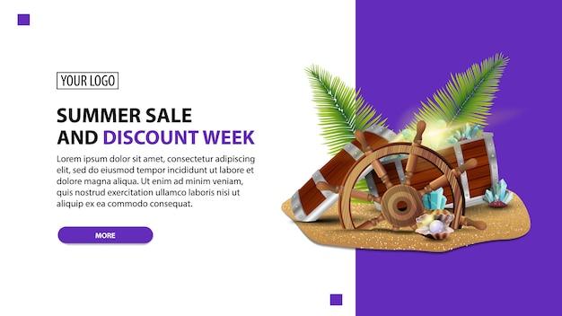 Venda de verão e semana de desconto, desconto modelo de banner web minimalista branco para seu site