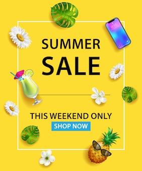 Venda de verão este fim de semana só loja agora lettering. smartphone, coquetel, abacaxi