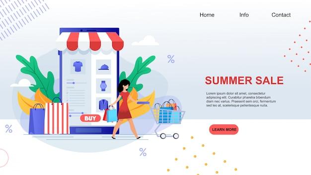Venda de verão feliz cartoon mulher com carrinho de compras compre roupas