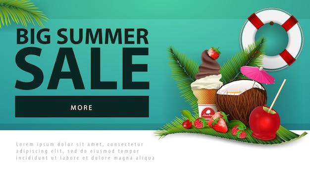 Venda de verão grande, banner de desconto web com coquetel de coco
