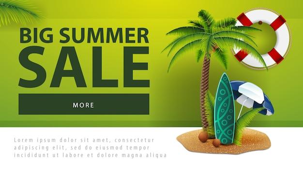 Venda de verão grande, banner de desconto web com palm