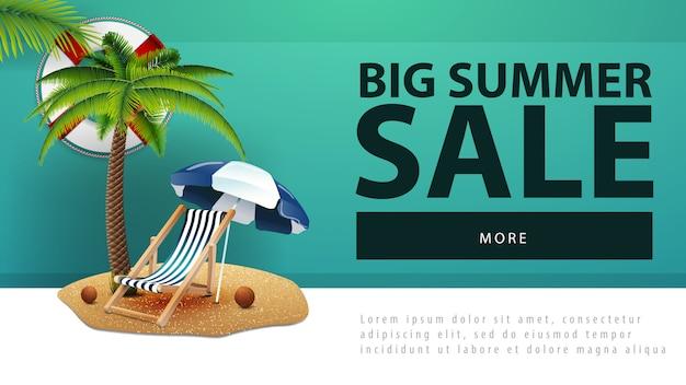 Venda de verão grande, banner de desconto web com palmeira