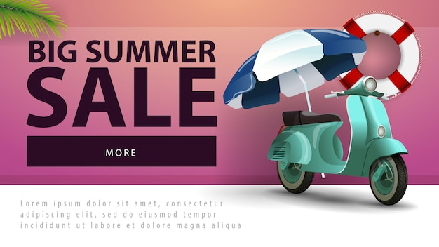 Venda de verão grande, banner de desconto web com scooter com um guarda-sol