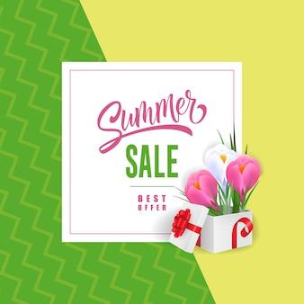 Venda de verão melhor oferta letras com flores em caixa de presente.