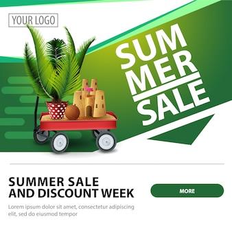 Venda de verão, modelo de banner moderno elegante web quadrados para publicidade e promoção do seu negócio
