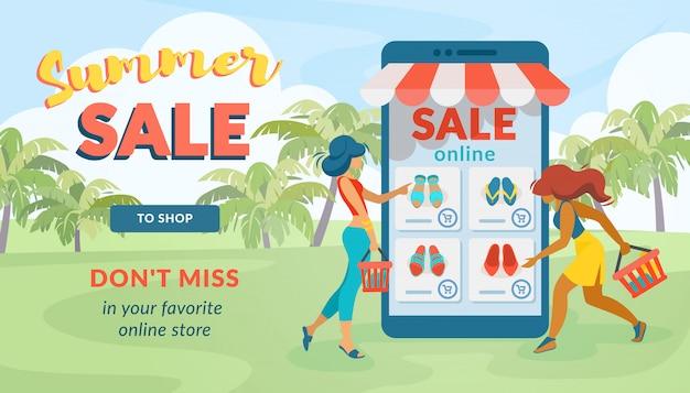 Venda de verão não perca sua loja on-line favorita