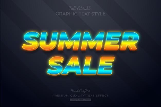 Venda de verão neon gradient efeito de texto premium editável