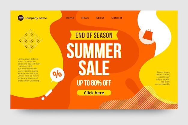 Venda de verão no final da temporada - página de destino