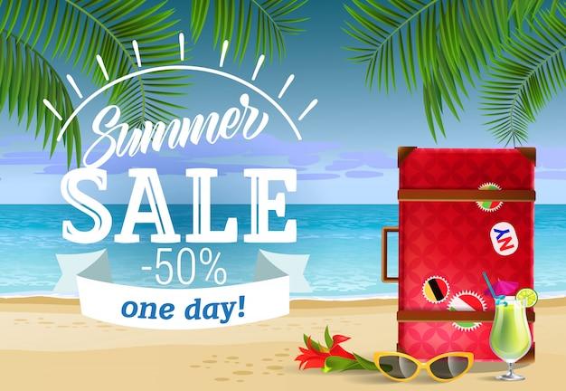 Venda de verão, um dia letras com praia do mar e coquetel. publicidade de venda