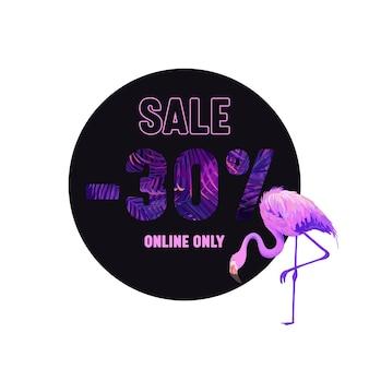 Venda de verão violeta banner com flamingo rosa e tipografia com ornamento de palmeiras e elementos botânicos. padrão de folhas tropicais, cartaz publicitário promocional apenas online. ícone de etiqueta de ilustração vetorial