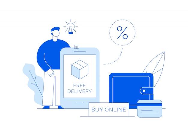 Venda de vetor em compras on-line moderna ilustração com grande homem, caixa de entrega, tela de aplicativo e carteira