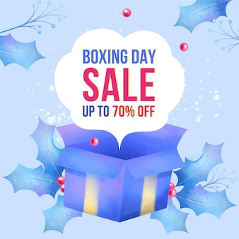 Venda do boxing day em aquarela