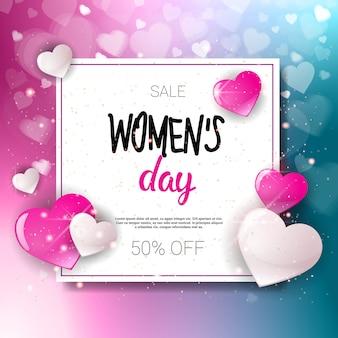 Venda do dia das mulheres 8 de março feriado compras oferta especial panfleto banner desconto cartaz fundo
