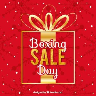 Venda do dia do boxe escrita em uma grande caixa de presente