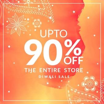 Venda e oferta de desconto diwali cartaz com projeto de paisley no fundo alaranjado da aguarela