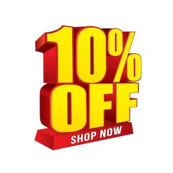 Venda e oferta especial de banner. 10% de desconto na loja agora