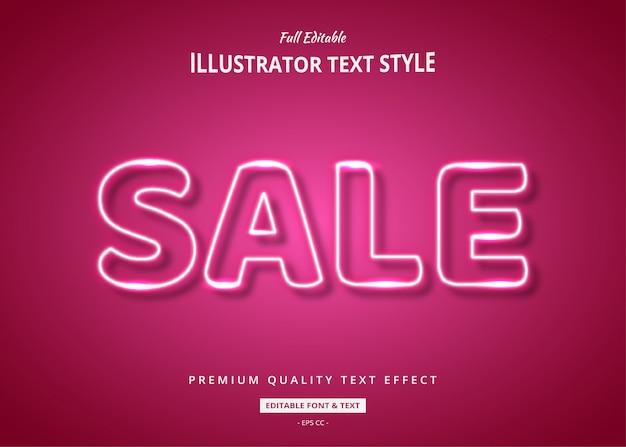 Venda efeito de estilo de texto de néon rosa
