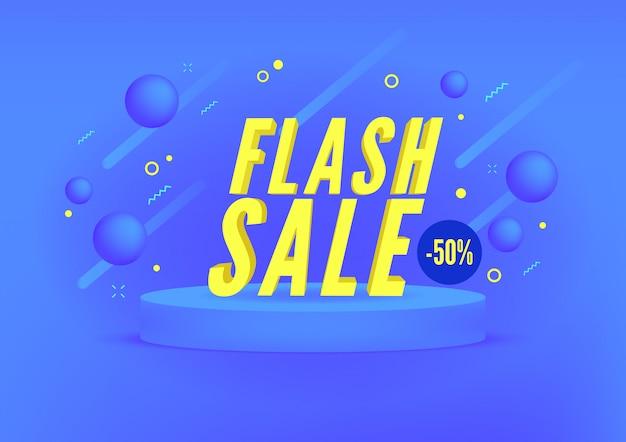 Venda em flash, banner de venda de compras on-line