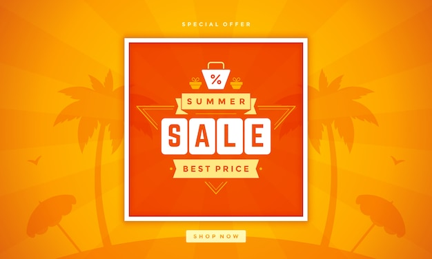 Venda em linha da venda da venda do verão na praia.