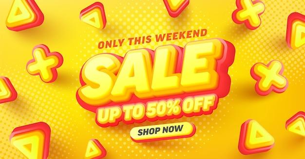 Venda especial 50% de desconto no design de pôster ou folheto para varejo, compras ou promoção em estilo amarelo e vermelho