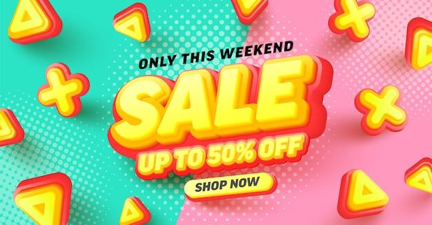 Venda especial 50% de desconto no design de pôster ou folheto para varejo, compras ou promoção