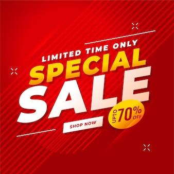Venda especial vermelha com detalhes da oferta