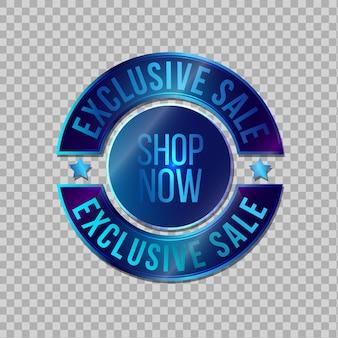 Venda exclusiva, emblema azul para venda online