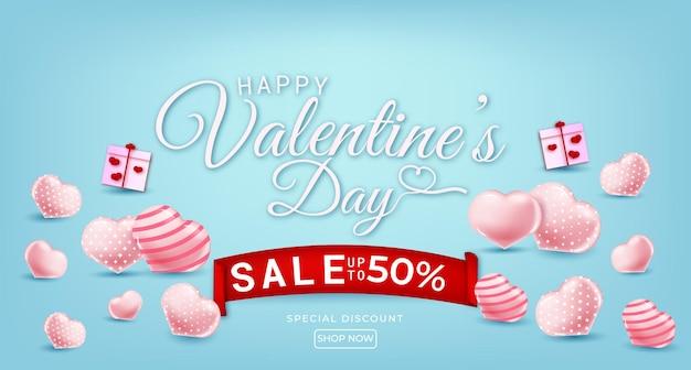Venda feliz dia dos namorados com corações