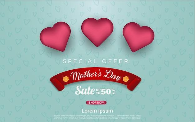 Venda feliz do dia das mães com amor realista