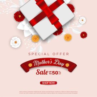 Venda feliz do dia das mães com caixa de presente