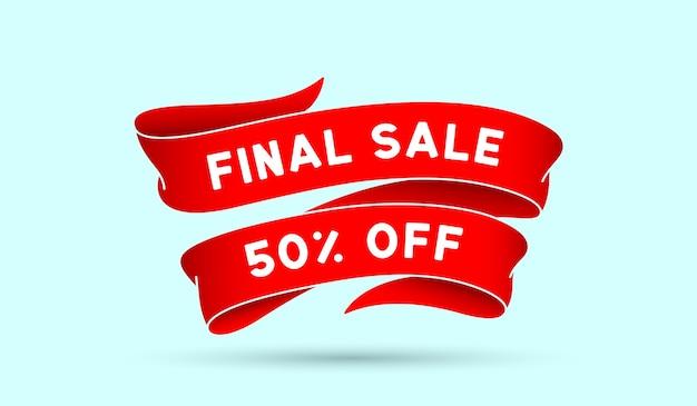 Venda final com 50% de desconto. fita vermelha vintage com texto venda final. banner vintage vermelho com fita, design gráfico