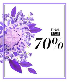 Venda final, setenta por cento de flyer com flor, lilás e moldura.