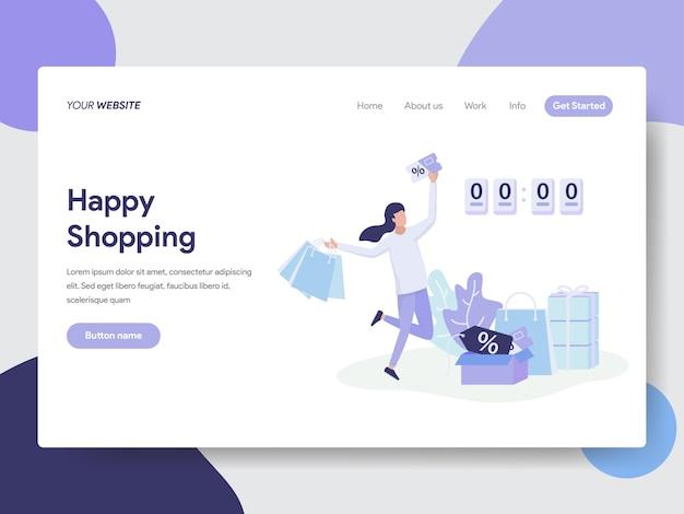 Venda flash e ilustração de compras para a página do site