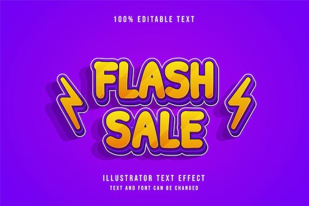 Venda flash, efeito de texto editável em 3d, gradação de rosa e efeito de sombra roxa