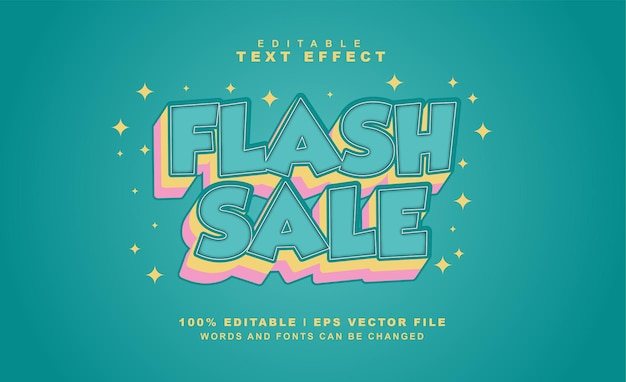 Venda flash efeito de texto eps vetor gratuito
