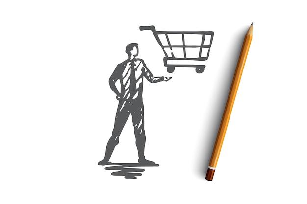 Venda guiada, loja, mercado, cesta, conceito de cliente. gerente desenhado de mão com carrinho por lado esboço do conceito.