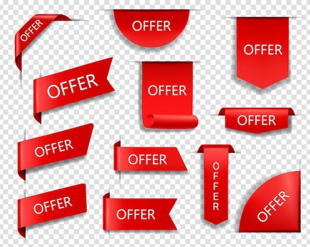 Venda oferece faixas, fitas e etiquetas de vetor vermelho