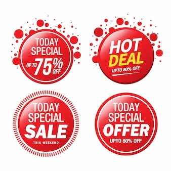 Venda, oferta especial e design de crachá de preço