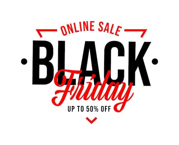 Venda online na sexta-feira negra com até 50% de desconto no modelo. layout de marketing de adesivo, banner ou crachá de etiqueta com ilustração em vetor de promoção de grande feriado ou fim de semana isolado no branco