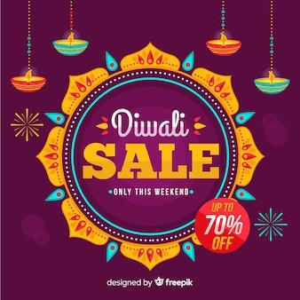 Venda plana de diwali com 70% de desconto