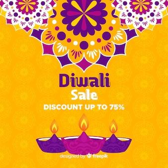 Venda plana de diwali com 75% de desconto