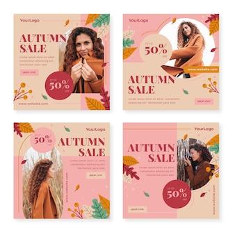 Venda plana de outono coleção de postagens de instagram com foto