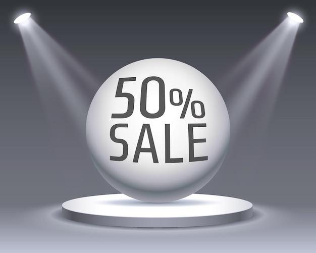 Venda podium 50 com percentual de desconto de ações. ilustração vetorial