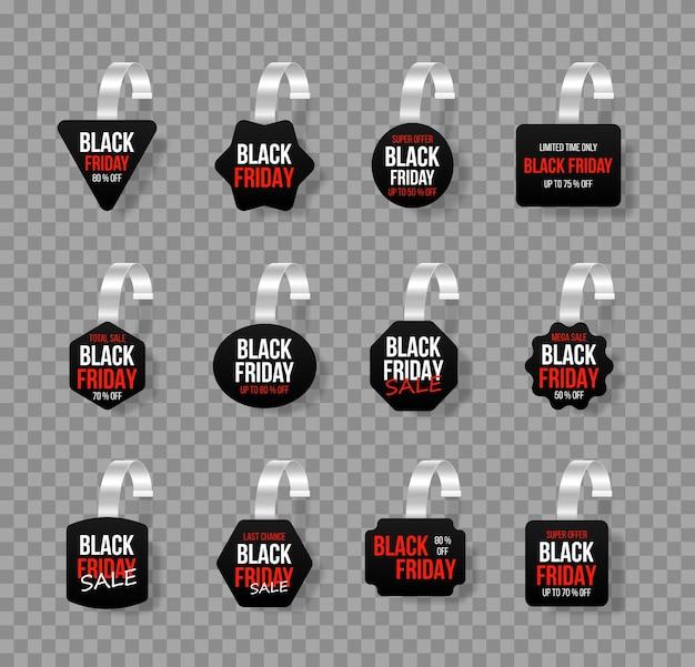 Venda preto tags wobblers com texto oferta especial de adesivo de desconto em vetor.