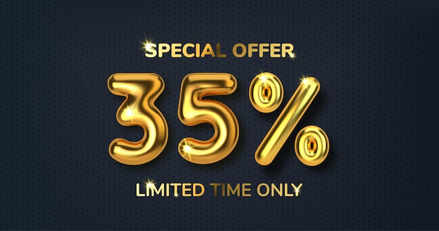 Venda promocional com desconto de 35% feita de balões de ouro 3d realistas